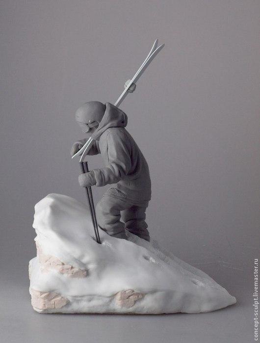 Миниатюра ручной работы. Ярмарка Мастеров - ручная работа. Купить Лыжник. Handmade. Серый, snowboard, горы