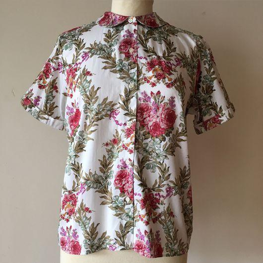 Одежда. Ярмарка Мастеров - ручная работа. Купить Винтажная рубашка CACHAREL. Handmade. Цветочная блузка, винтажная блузка, мерсеризованный хлопок