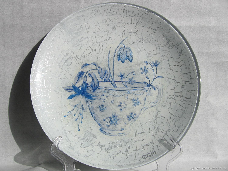 Декоративная посуда ручной работы. Ярмарка Мастеров - ручная работа. Купить Цветы в чашке Декоративная тарелка. Handmade. Цветы