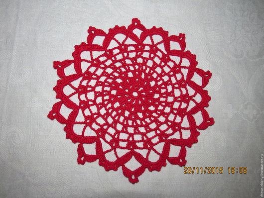 Текстиль, ковры ручной работы. Ярмарка Мастеров - ручная работа. Купить Яркая салфетка для стола. Handmade. Ярко-красный