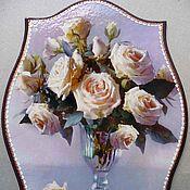 Картины и панно ручной работы. Ярмарка Мастеров - ручная работа Белые розы Панно. Handmade.