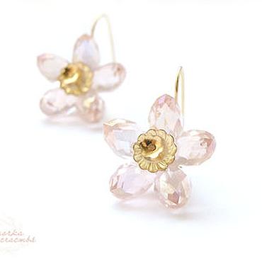 Украшения ручной работы. Ярмарка Мастеров - ручная работа Серьги позолоченные Розовые цветы серьги цветок цветочки, нежные. Handmade.