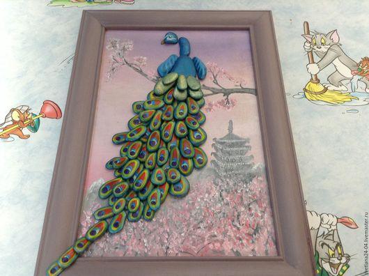 Животные ручной работы. Ярмарка Мастеров - ручная работа. Купить картина из гальки Павлин. Handmade. Синий, картина из камня