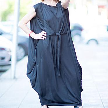 Одежда ручной работы. Ярмарка Мастеров - ручная работа Черное, стильное  платье из хлопка - DR0116TR. Handmade.