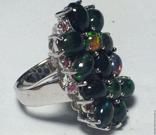 """Кольца ручной работы. Ярмарка Мастеров - ручная работа. Купить Крупное кольцо с  чер.Опалами и Рубинами """"Беатрис"""",. Handmade. Черный"""