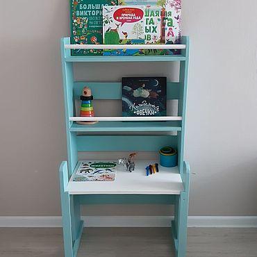 Для дома и интерьера ручной работы. Ярмарка Мастеров - ручная работа Детский стеллаж-стол (бирюзово-белый). Handmade.