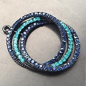 Материалы для творчества handmade. Livemaster - original item Large pendant with cubic Zirconia art. 7-17 and black coating. Handmade.