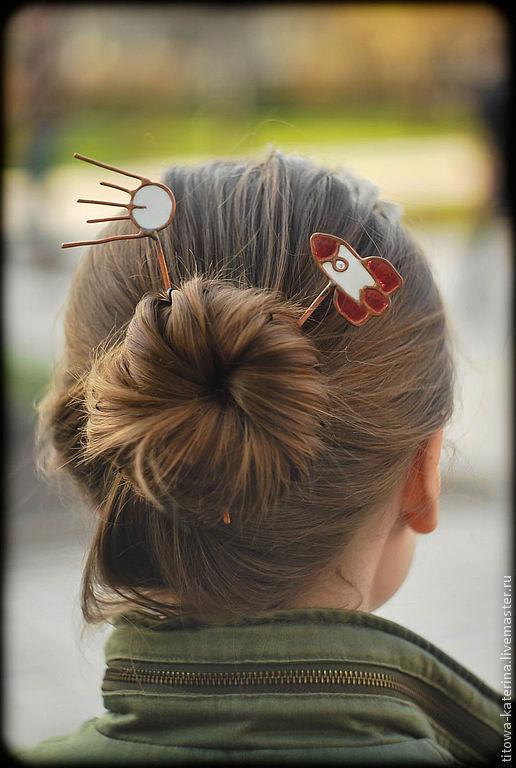 Заколки ручной работы. Ярмарка Мастеров - ручная работа. Купить шпильки для волос Покорители космоса. Handmade. Белый, шпилька для волос