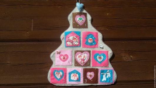 Ярмарка мастеров -ручная работа.handmade.купить новогоднее панно с кармашками. адвенткалендарь из фетра