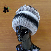 Аксессуары handmade. Livemaster - original item Hat female rabbit fur Rex on a knitted base. Art. The IL-1. Handmade.
