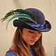 """Шляпы ручной работы. Ярмарка Мастеров - ручная работа. Купить Шляпа """"L'oiseau bleu"""" (Синяя птица). Handmade. Тёмно-синий"""