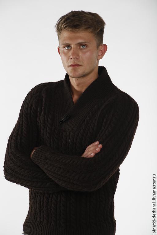 Для мужчин, ручной работы. Ярмарка Мастеров - ручная работа. Купить Мужской свитер вязаный. Коричневый. Handmade. Коричневый, офис