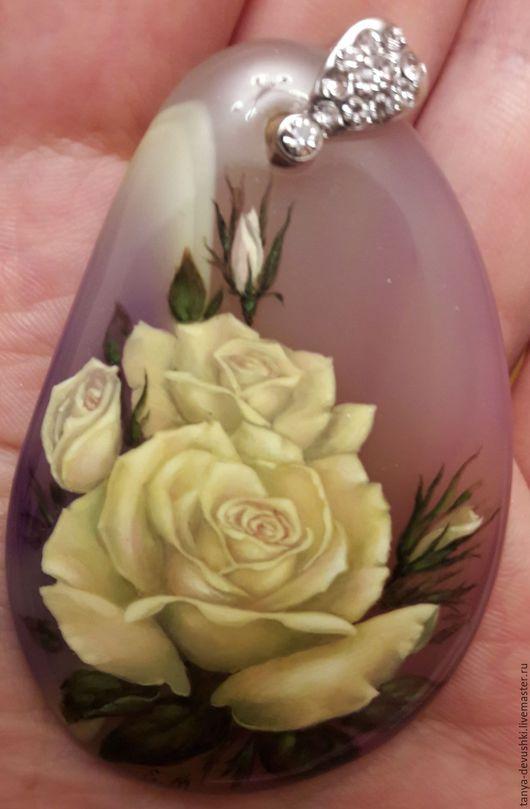 Кулоны, подвески ручной работы. Ярмарка Мастеров - ручная работа. Купить Розы. Handmade. Сиреневый, камень натуральный