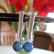 Украшения handmade. Livemaster - original item Earrings made of kyanite and silver 925.