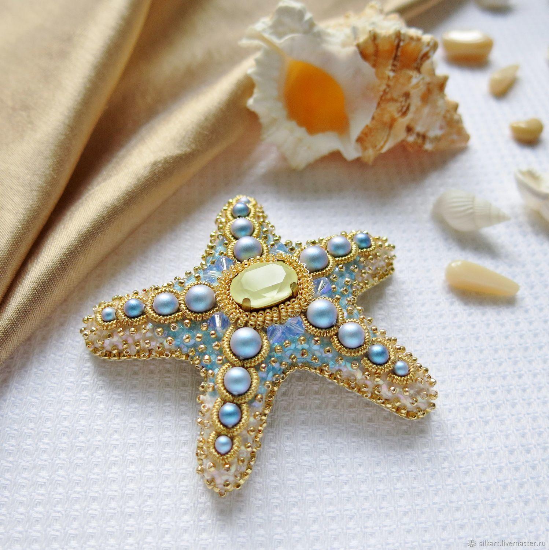Brooch beaded starfish, Brooches, Zheleznodorozhny,  Фото №1