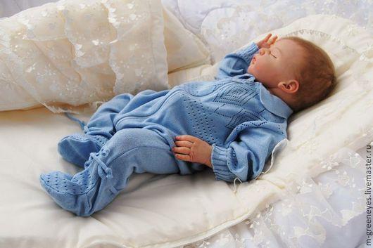"""Для новорожденных, ручной работы. Ярмарка Мастеров - ручная работа. Купить Комбинезон """"Мамин Ангелочек"""". Handmade. Голубой, летний комбинезон"""