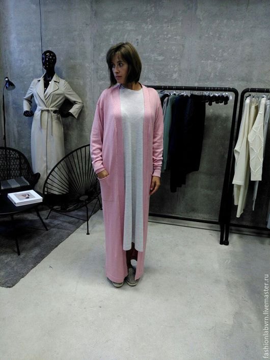 """Кофты и свитера ручной работы. Ярмарка Мастеров - ручная работа. Купить Вязаный кардиган с карманами """"Pink Nude"""". Handmade."""