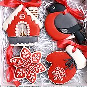 Сувениры и подарки handmade. Livemaster - original item Christmas gingerbread.Set of gingerbread Gingerbread bullfinch on a Christmas tree. Handmade.