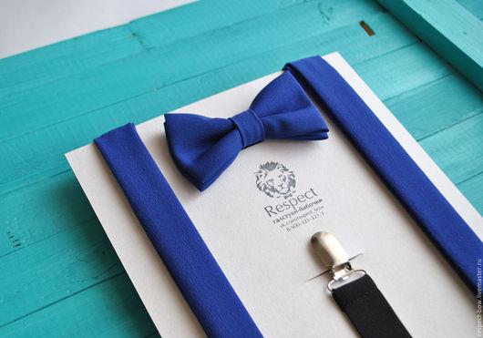 Комплекты аксессуаров ручной работы. Ярмарка Мастеров - ручная работа. Купить Бабочка и подтяжки Электрик ярко-синий / галстук-бабочка, помочи. Handmade.