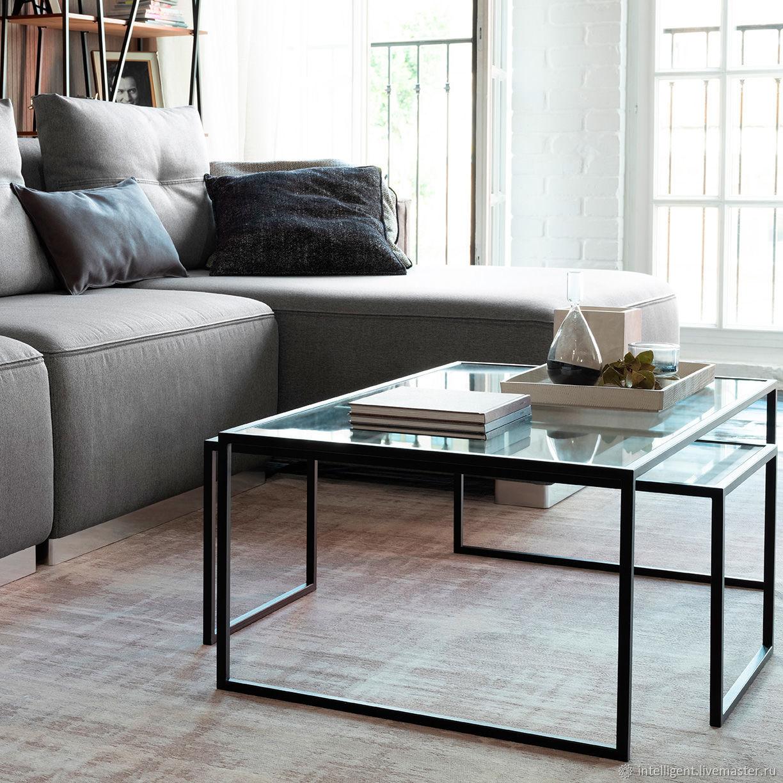 Мебель ручной работы. Ярмарка Мастеров - ручная работа. Купить Комплект журнальных столов Set 1 black прозрачное стекло. Handmade.