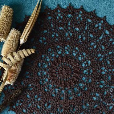 Для дома и интерьера ручной работы. Ярмарка Мастеров - ручная работа Салфетка крючком коричневая Горький шоколад. Handmade.