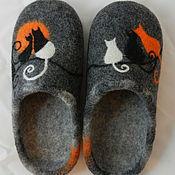 """Обувь ручной работы. Ярмарка Мастеров - ручная работа Тапки валяные домашние """"Кошки-4"""". Handmade."""