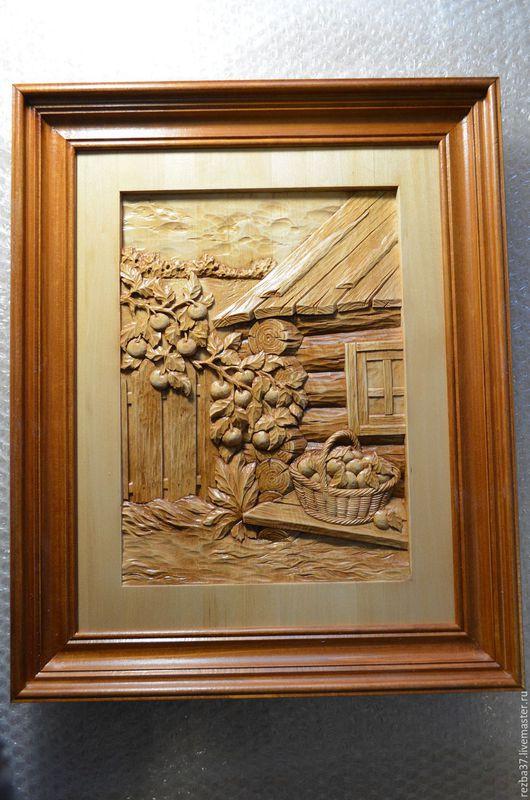 Пейзаж ручной работы. Ярмарка Мастеров - ручная работа. Купить Урожай.. Handmade. Резная деревянная картина, дерево липа