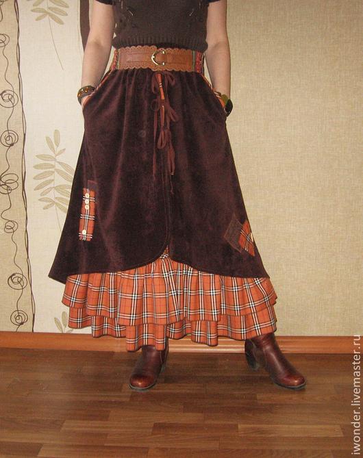 """Юбки ручной работы. Ярмарка Мастеров - ручная работа. Купить Юбка """"Terracotta"""". Handmade. Длинная юбка, шотландка, бохо юбка"""