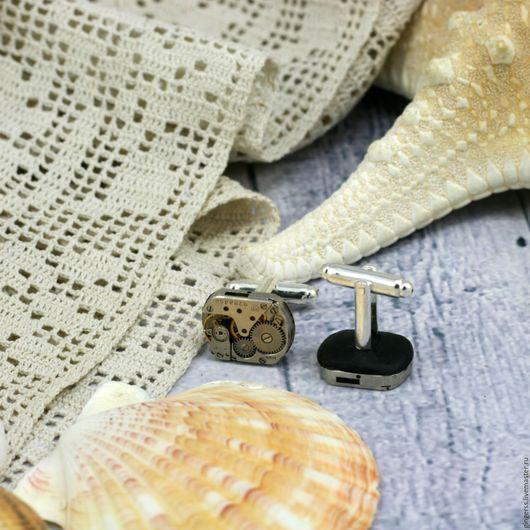 Запонки ручной работы. Ярмарка Мастеров - ручная работа. Купить запонки в стиле стимпанк. Handmade. Серебряный, запонки женские