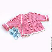 Работы для детей, handmade. Livemaster - original item cardigan girl`s sweater children`s knitted pink. Handmade.