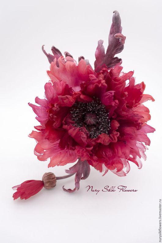 """Броши ручной работы. Ярмарка Мастеров - ручная работа. Купить Брошь-мак из шелка """"Flamenco"""". Handmade. Ярко-красный, любовь"""