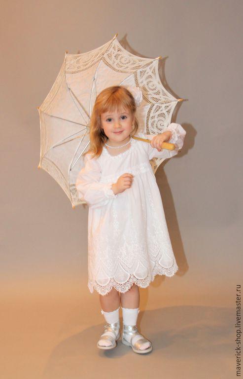 Одежда для девочек, ручной работы. Ярмарка Мастеров - ручная работа. Купить Нарядное белое  платье для девочки из батиста с вышивкой. Handmade.