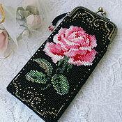 Сумки и аксессуары handmade. Livemaster - original item Eyeglass case beaded rose vintage. Handmade.