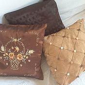 Для дома и интерьера ручной работы. Ярмарка Мастеров - ручная работа комплект из 3 чехлов на подушки  Шоколад. Handmade.