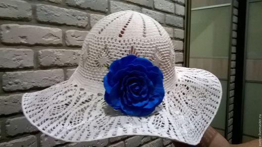 Парео ручной работы. Ярмарка Мастеров - ручная работа. Купить Шляпка вязанная. Handmade. Пляжный сезон, шляпка женская, белый