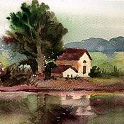 Картины и панно ручной работы. Ярмарка Мастеров - ручная работа Летний пейзаж с домиком на берегу реки картина акварелью. Handmade.