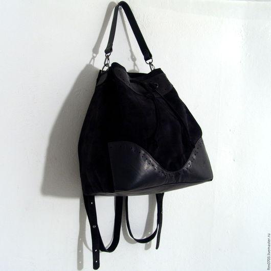"""Женские сумки ручной работы. Ярмарка Мастеров - ручная работа. Купить Торба-рюкзак """"Black"""". Handmade. Черный, рюкзак женский"""