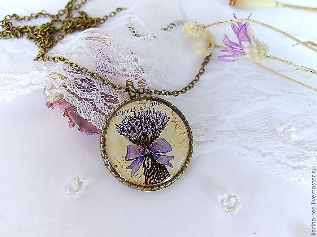 Vintage Round Pendant with a Bouquet of Lavender 'Provence', Pendants, Taganrog,  Фото №1