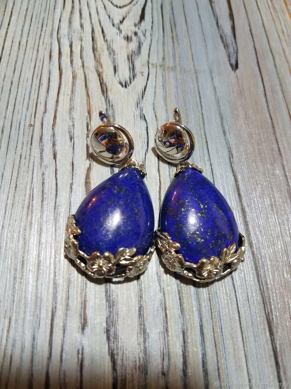 Large blue earrings-lapis LAZULI, Earrings, Ashkelon,  Фото №1