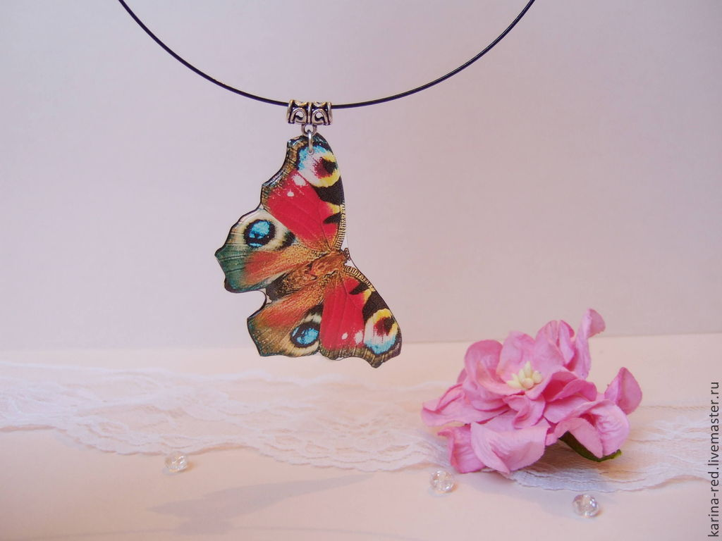 Transparent Pendant Butterfly Peacock Red Black White, Pendants, Taganrog,  Фото №1