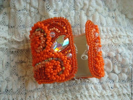 """Браслеты ручной работы. Ярмарка Мастеров - ручная работа. Купить Бисерный браслет """"Оранжевое лето"""". Handmade. Оранжевый, браслет, кристалл"""