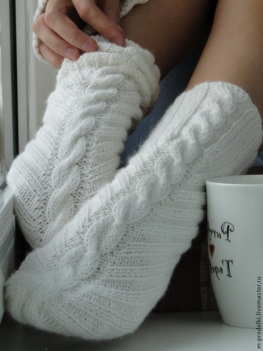 """Носки, Чулки ручной работы. Ярмарка Мастеров - ручная работа. Купить Носочки вязаные """"Sweety"""". Handmade. Белый, носочки женские"""