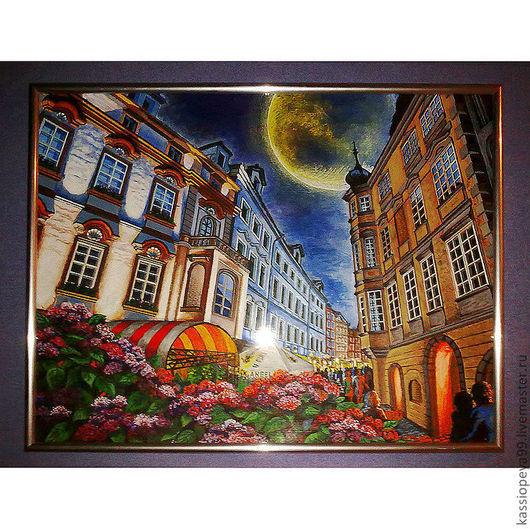 Город ручной работы. Ярмарка Мастеров - ручная работа. Купить Притяжение Луны. Handmade. Город, улочка, картина, городской пейзаж
