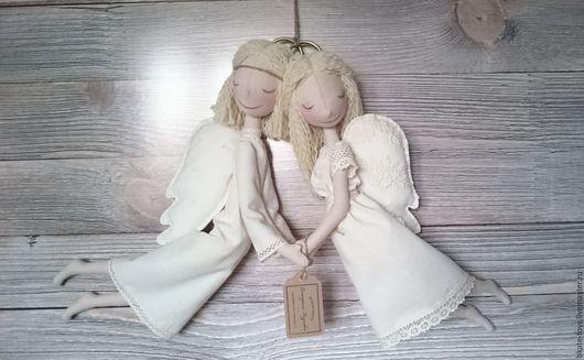 Человечки ручной работы. Ярмарка Мастеров - ручная работа. Купить Интерьерная текстильная кукла Ангелы-неразлучники. Handmade. Белый, подарок