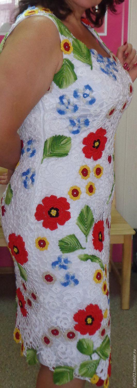 Купить маки - ирландское вязание, комбинированный, орнамент,.