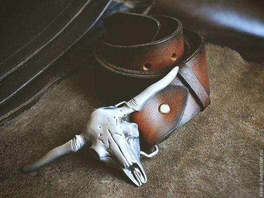 Пояса, ремни ручной работы. Ярмарка Мастеров - ручная работа. Купить Ремень из натуральной кожи Бизон мужской женский кожаный ремень. Handmade.