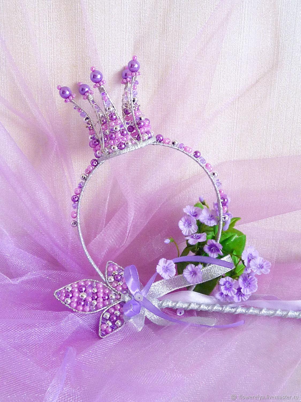 Диадемы, обручи ручной работы. Ярмарка Мастеров - ручная работа. Купить Комплект Корона для принцессы и волшебная палочка. Handmade. Корона