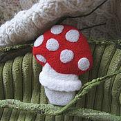 Украшения handmade. Livemaster - original item Mushroom brooch - felted brooch wool handmade. Handmade.