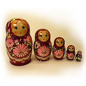 Русский стиль handmade. Livemaster - original item Matryoshka 5 local Floral small 7. Handmade.