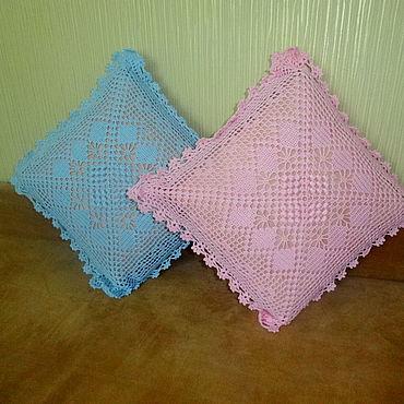 Textiles handmade. Livemaster - original item A crocheted pillow cover in filet fishnet. Handmade.